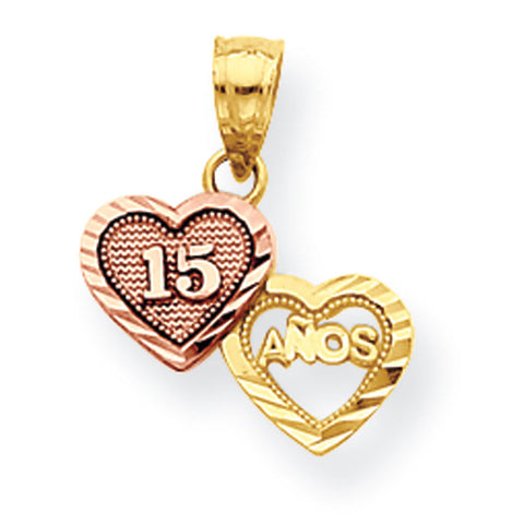 10k Two Tone Gold Small Sweet 15 Pendant