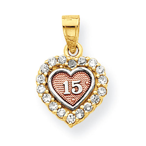 10k Two Tone Gold 15 CZ Heart Pendant