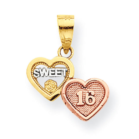10k Two Tone Gold Small Sweet 16 Pendant