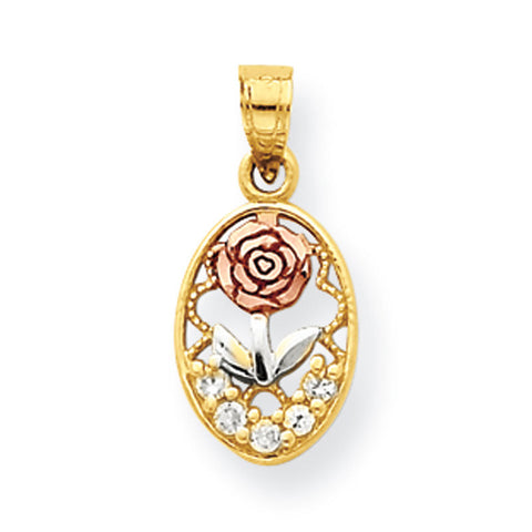 10k Two Tone Gold CZ Rose Pendant