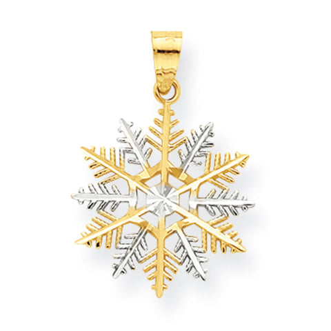 10K Yellow Gold & Rhodium Snowflake Pendant