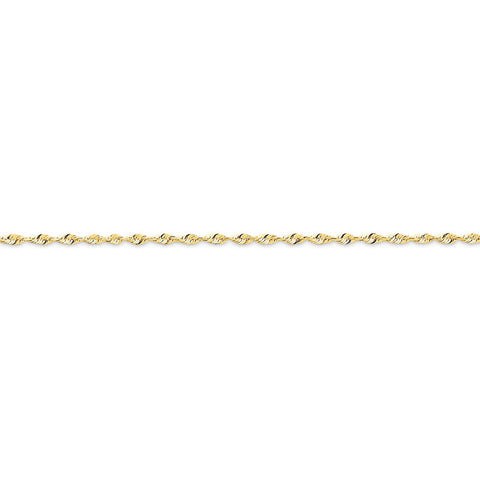 10k Yellow Gold 7in 1.8mm D/C Extra-Lite Rope Chain Bracelet