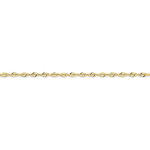 10k Yellow Gold 7in 2.55mm D/C Extra-Lite Rope Chain Bracelet