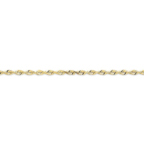 10k Yellow Gold 7in 2.75mm D/C Extra-Lite Rope Chain Bracelet