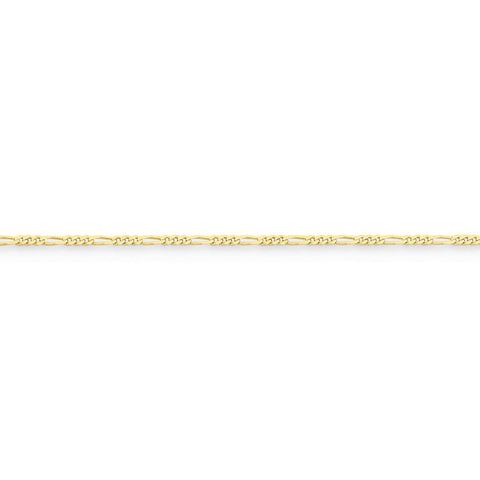 10k Yellow Gold 7in 1.75mm Polished Figaro Chain Bracelet