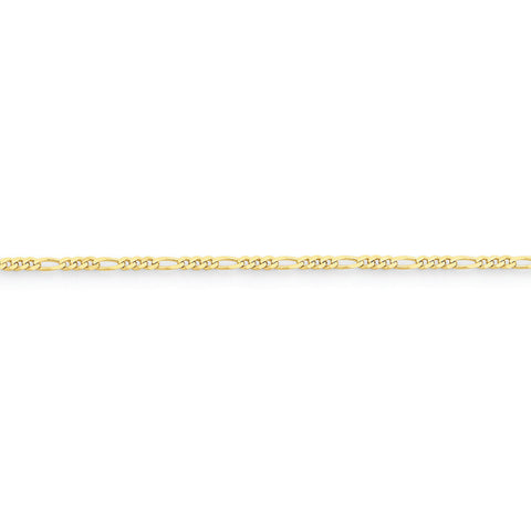 10k Yellow Gold 7in 2.2mm Figaro LINK Chain Bracelet