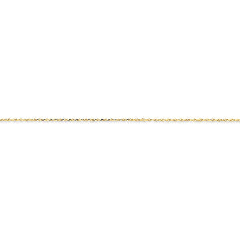 10k Yellow Gold 7in 1.2mm Handmade D/C Rope Chain Bracelet