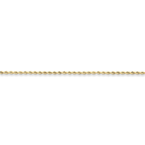 10k Yellow Gold 7in 1.75mm Handmade D/C Rope Chain Bracelet