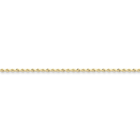 10k Yellow Gold 7in 2mm Handmade D/C Rope Chain Bracelet
