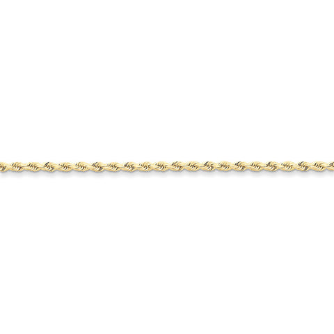 10k Yellow Gold 7in 2.5mm Handmade D/C Rope Chain Bracelet