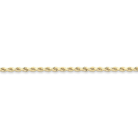 10k Yellow Gold 7in 2.75mm Handmade D/C Rope Chain Bracelet