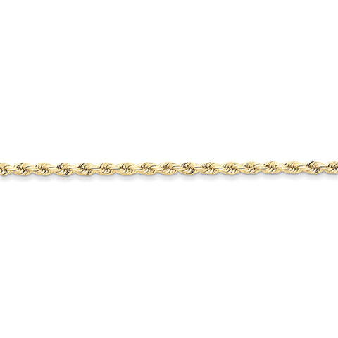 10k Yellow Gold 7in 3mm Handmade D/C Rope Chain Bracelet