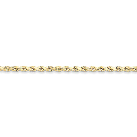 10k Yellow Gold 7in 3.5mm Handmade D/C Rope Chain Bracelet