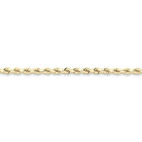 10k Yellow Gold 7in 4mm Handmade D/C Rope Chain Bracelet