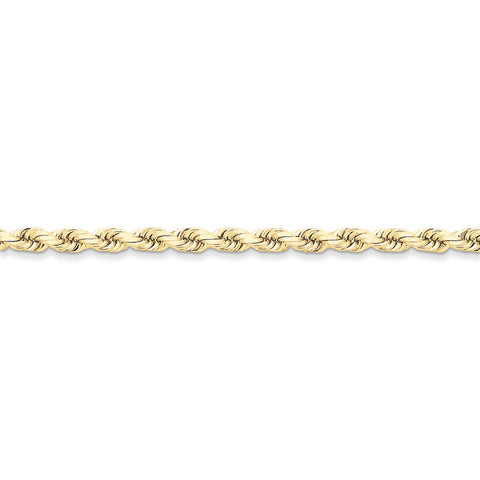 10k Yellow Gold 7in 5mm Handmade D/C Rope Chain Bracelet