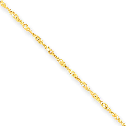 10k Yellow Gold 7in 1.10mm Singapore Chain Bracelet