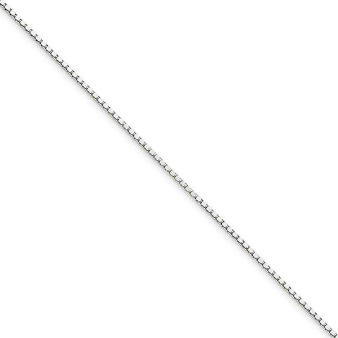 10k White Gold 7in .90mm Box Chain Bracelet