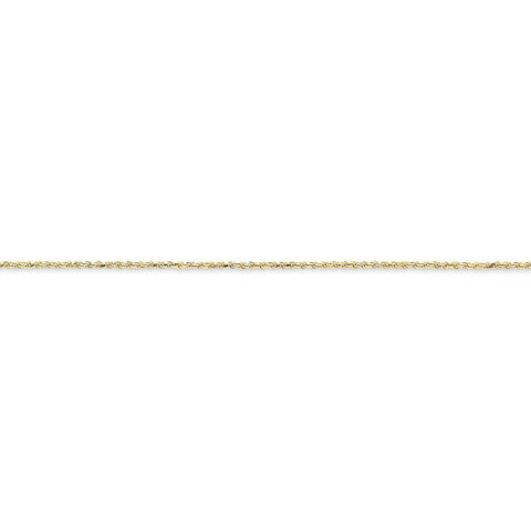 10k Yellow Gold 7in 1.5mm Machine Made D/C Rope Chain Bracelet