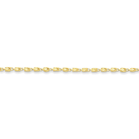 10k Yellow Gold 7in 3mm Marquise Chain Bracelet