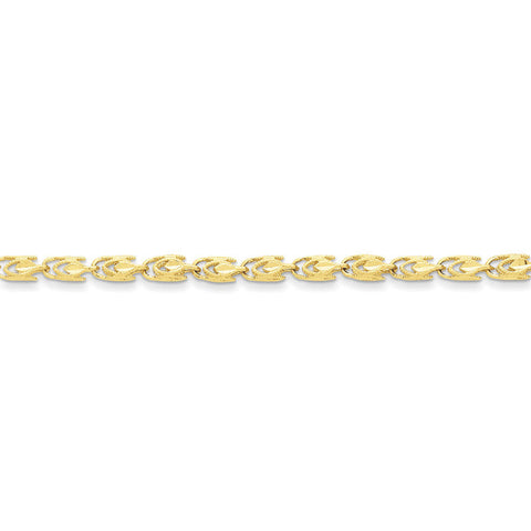 10k Yellow Gold 7in 4mm Marquise Chain Bracelet