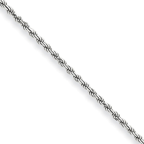 10k White Gold 7in 2mm Machine Made D/C Rope Chain Bracelet