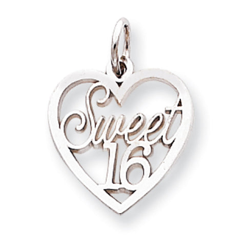 10k White Gold Sweet 16 in Heart Pendant