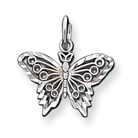10k White Gold BUTTERFLY Pendant