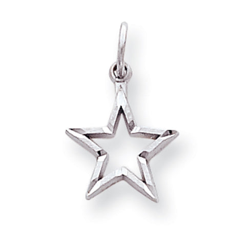 10k White Gold D/C Star Pendant