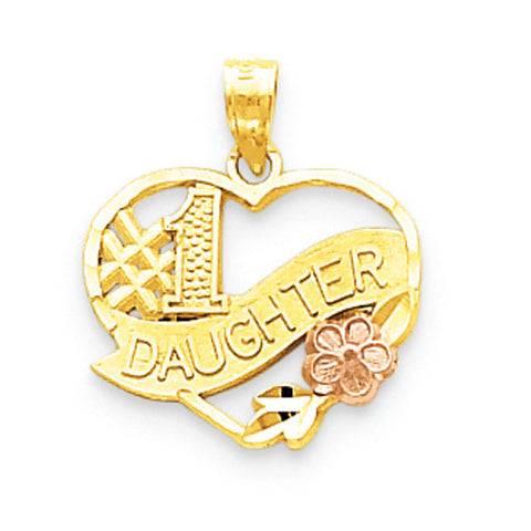 10k Two Tone Gold #1 Daughter Pendant
