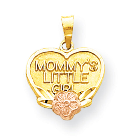 10k Two Tone Gold Mommy's Little Girl Heart Pendant