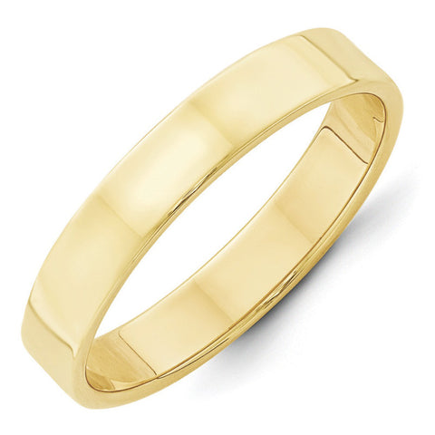 10K Yellow Gold 4mm Light Weight Flat Band Size 7