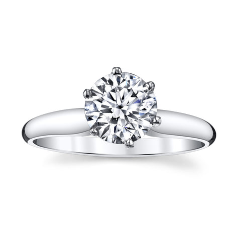 14K White Gold 1.21 Ct. Unique Solitare Engagement Ring with a Fantastic Round BrilliantCut Diamond