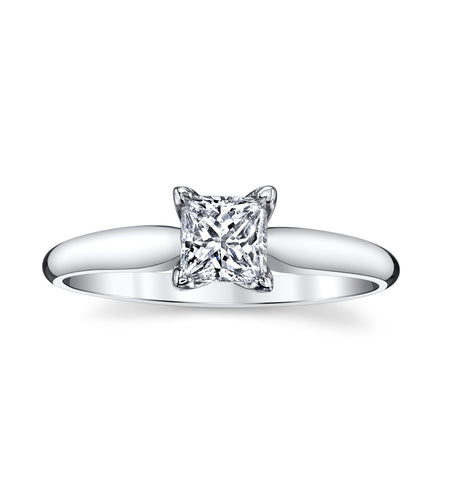 14K White Gold 0.46 Ct. Gorgeous Solitare Engagement Ring with Stunning Square Modified Brilliant  Cut Diamond