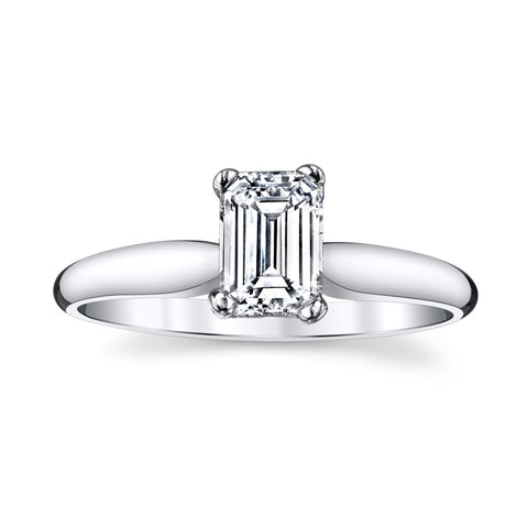 14K White Gold 0.71 Ct. Unique Solitare Engagement Ring with a Fantastic Emerald Cut Diamond