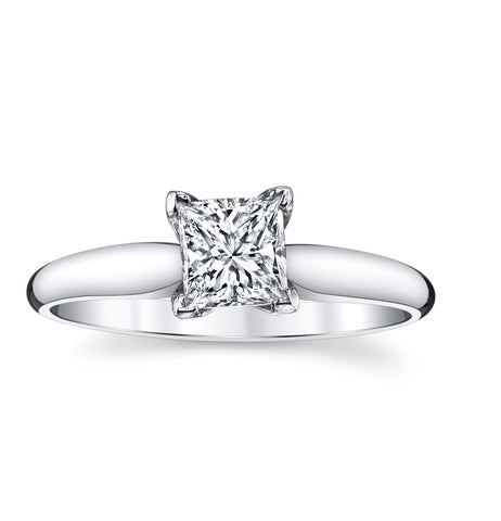 14K White Gold 0.7 Ct. Unique Solitare Engagement Ring with a Fantastic Rectangular Modified BrilliantCut Diamond