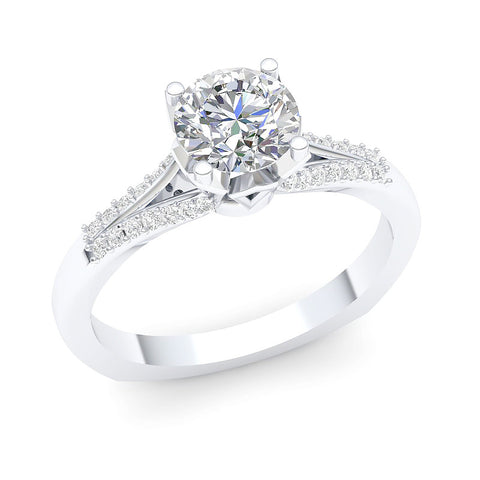 14K White Gold 1.15 ctw. Vintage Style Engagement Ring with Brilliant Cut Round Diamonds