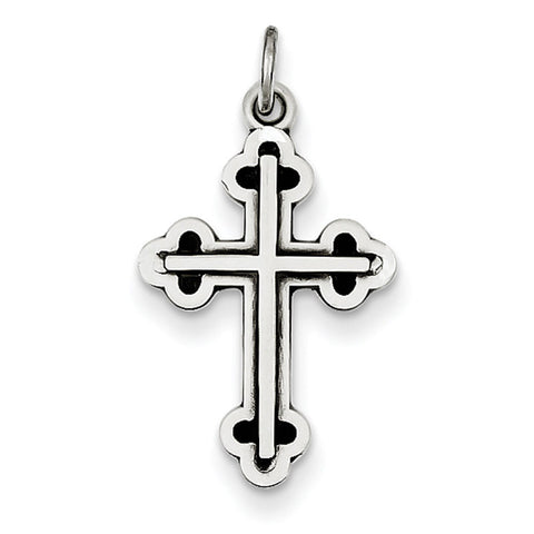 Sterling Silver Antiqued Budded Cross Charm