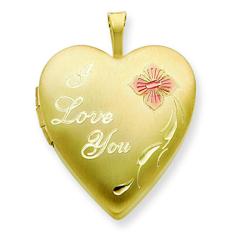1/20 Gold Filled 20mm Enameled I Love You Heart Locket w/ 18in Chain