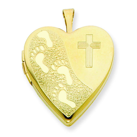 1/20 Gold Filled 20mm Cross & Footprint Heart Locket w/ 18in Chain