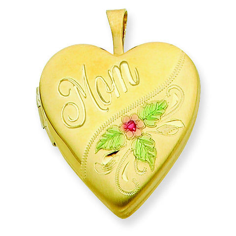 1/20 Gold Filled 20mm Enameled Mom Heart Locket w/ 18in Chain