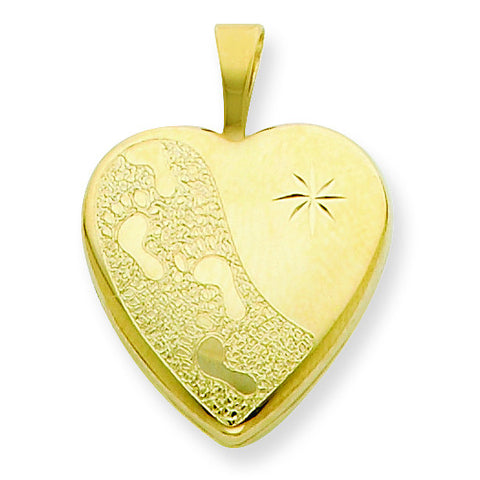 1/20 Gold Filled 16mm Footprints Heart Locket w/ 18in Chain