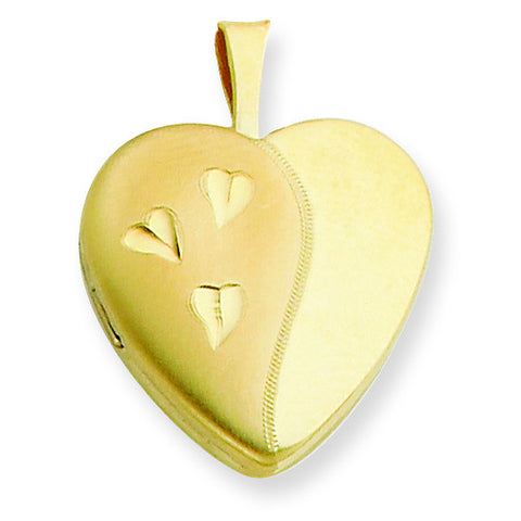 1/20 Gold Filled 16mm Satin and Polished Heart Locket w/ 18in Chain