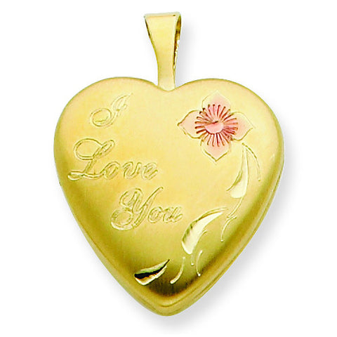 1/20 Gold Filled 16mm Enameled Flower I Love You Heart Locket w/ 18in Chain