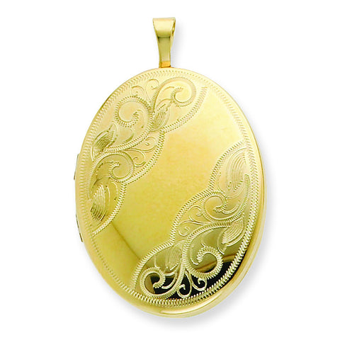 1/20 Gold Filled 26mm Swirled Oval Locket w/ 18in Chain