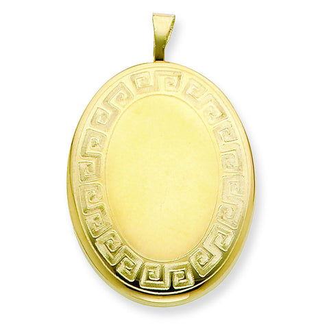 1/20 Gold Filled 26mm Greek Key Border Oval Locket w/ 18in Chain