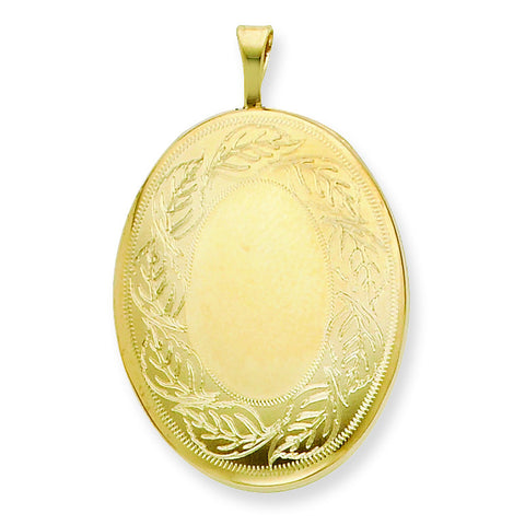 1/20 Gold Filled 26mm Leaf Border Oval Locket w/ 18in Chain