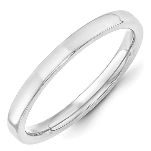 10K White Gold 2.5mm Standard Flat Comfort Fit Band Size 5