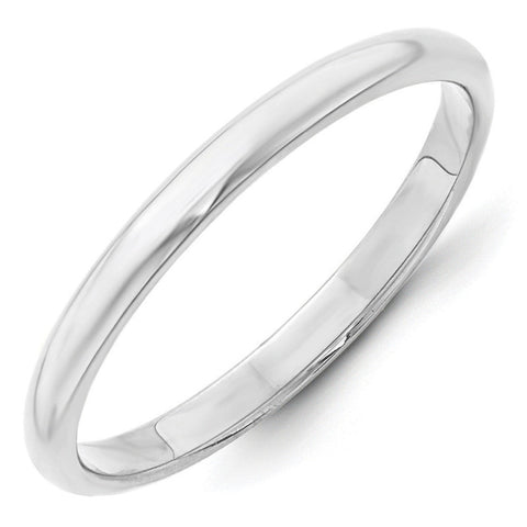10K White Gold 2.5mm Half Round Band Size 7