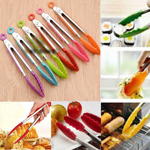 Silicone Kitchen Cooking Salad Serving BBQ Tongs Stainless Steel HandleUtensilVy