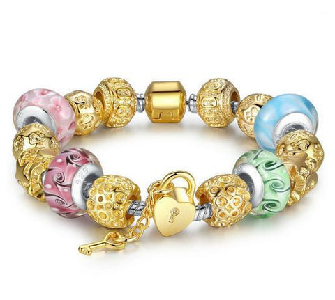 "DROPKICKS STOCK ITEM: Authentic Lenora Loaded ""Precious Pastels"" Silver Snake Chain Gold Barrel Clasp European Charm Bracelet"